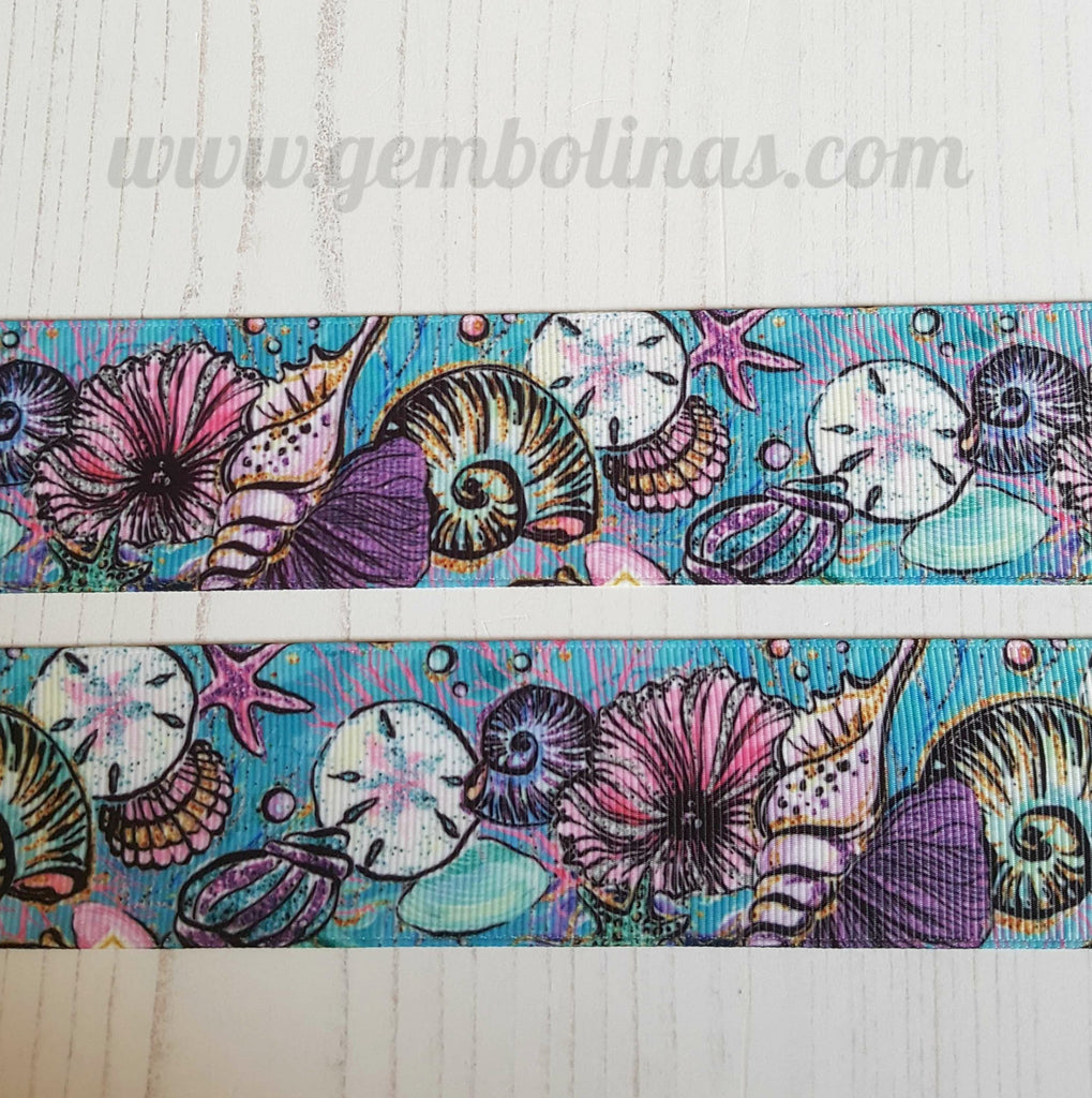 "1.5"" 38mm Seashells Ocean Sea Printed Grosgrain Ribbon Gembolina's Crafts"