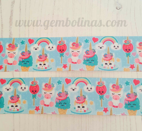 "1.5"" 38mm Unicorn Rainbow Sky Printed Grosgrain Ribbon Gembolina's Crafts"