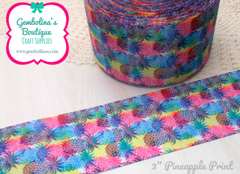 "3"" 75mm Pineapple Pineapples Print Multi Multicolour Grosgrain Ribbon Bow Making Gembolina's Crafts"