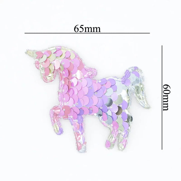 Pink, Silver & Lilac Sequin Unicorn Applique