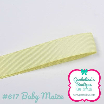 #617 Baby Maize Yellow Yellows Solid Colour Plain Grosgrain Ribbon Bow Making Gembolina's Crafts