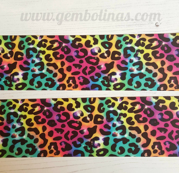 "3"" 75mm Bright Leopard Printed Grosgrain Ribbon Gembolina's Crafts"