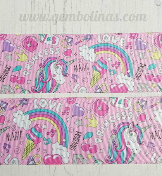 "3"" 75mm Pink Unicorn Unicorns Grosgrain Ribbon Bow Making Gembolina's Crafts"