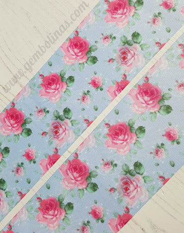 "3"" 75mm Roses on Blue Pink Floral Grosgrain Ribbon Bow Making Gembolina's Crafts"