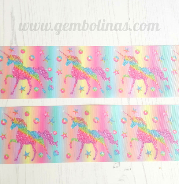 "3"" 75mm Unicorn Ombré Unicorns Grosgrain Ribbon Bow Making Gembolina's Crafts"