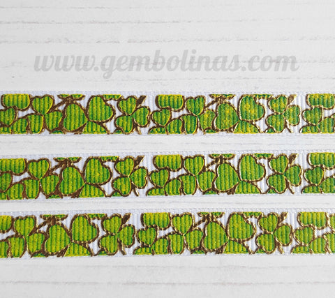 3/8 9mm Golden Shamrock Foil Irish Printed Grosgrain Ribbon Bow Making Craft Supplies