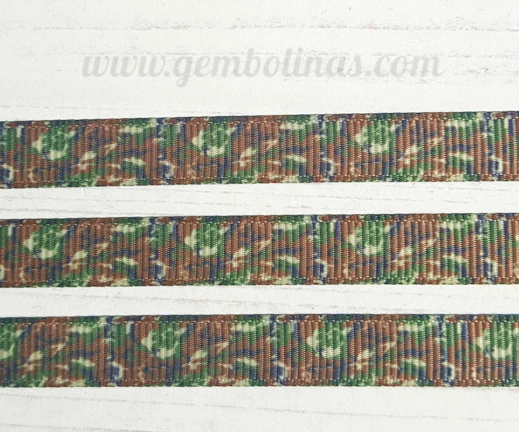 3/8 9mm Camo Camouflage Army Print Grosgrain Ribbon Bow Making Gembolina's Craft Supplies