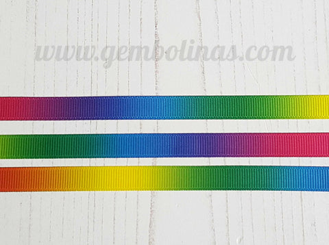 3/8 9mm Rainbow Ombré Double Sided Grosgrain Gradient Colour Change Ribbon Gembolina's Crafts