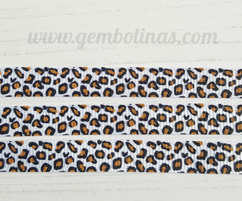 3/8 9mm Leopard Animal Print Effect Printed Grosgrain Ribbon Bow Making Craft Supplies