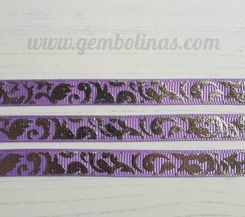 3/8 9mm Lilac And Silver Swirl Foil Printed Grosgrain Ribbon Bow Making Craft Supplies