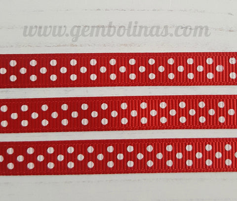 3/8 9mm Red White Polka Dots Printed Grosgrain Ribbon Bow Making Craft Supplies