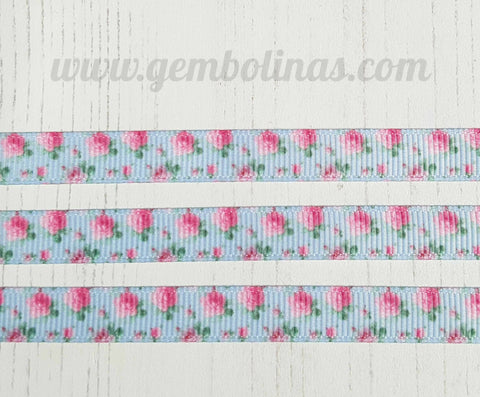 "3/8"" 9mm Roses on Blue Pink Floral Grosgrain Ribbon Bow Making Gembolina's Crafts"