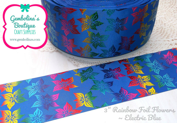 "3"" Rainbow Foil Flowers ~ Electric Blue"