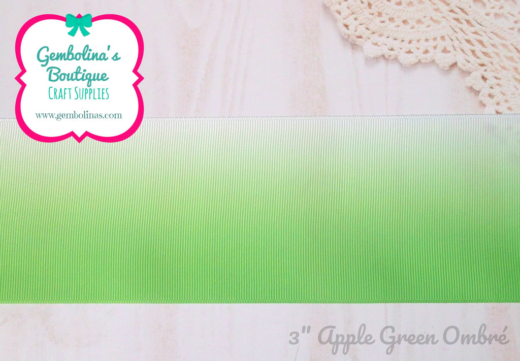"3"" 75mm Apple Green Classic Ombré Printed Grosgrain Gradient Colour Change Ribbon Gembolina's Crafts"