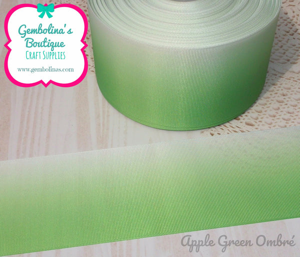 Apple Green 9mm 25mm 38mm 50mm 75mm Classic Ombré Printed Grosgrain Gradient Colour Change Ribbon Gembolina's Crafts