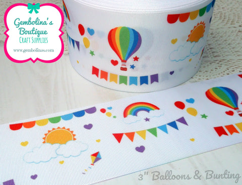 "3"" 75mm Balloons & Bunting Rainbow Grosgrain Ribbon Bow Making Gembolina's Crafts"