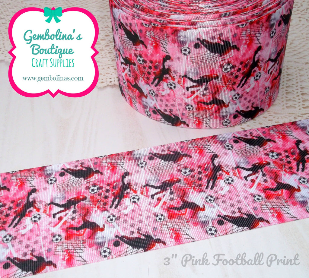 "3"" 75mm Pink Football Girls Sports Grosgrain Ribbon Bow Making Gembolina's Crafts"
