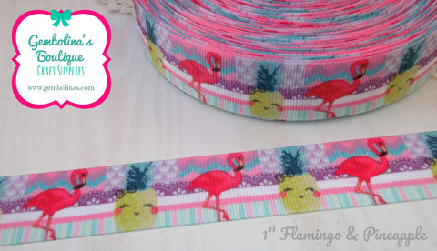 "1"" 25mm Flamingo & Pineapple Summer Print Grosgrain Ribbon Bow Making Gembolina's Crafts"