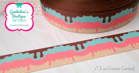 "1"" 25mm Ice Cream Cornet Effect Summer Print Grosgrain Ribbon Bow Making Gembolina's Crafts"
