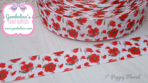 "1"" 25mm Poppy Floral Poppies Remembrance Flower Printed Grosgrain Ribbon Bow Making Gembolina's Crafts"