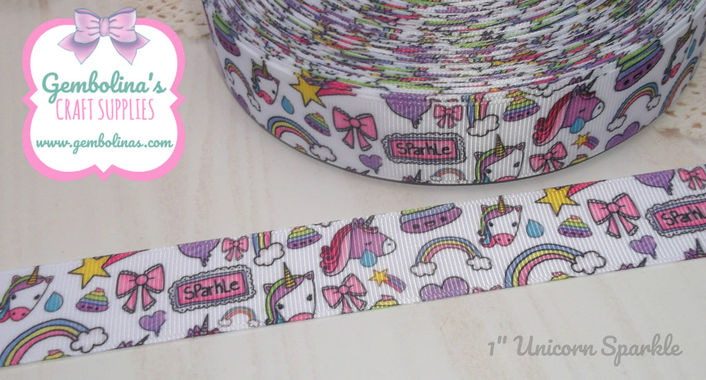 "1"" 25mm Unicorn Sparkle Doodle Grosgrain Ribbon Bow Making Gembolina's Crafts"