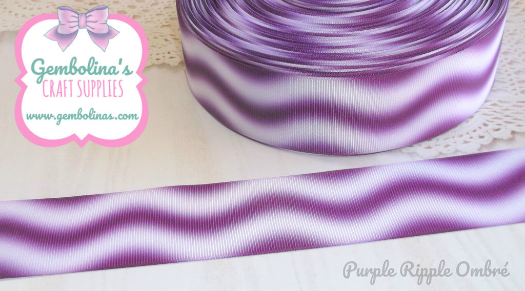 "1.5"" 38mm Purple Ripple Ombré Printed Grosgrain Ribbon Bow Making Gembolina's Craft Supplies"