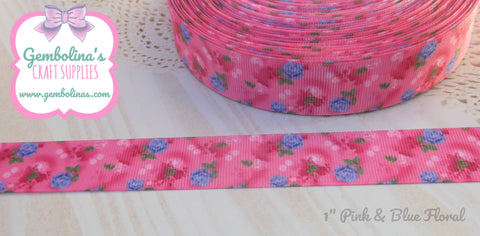 "1"" 25mm Pink & Blue Floral Print Grosgrain Ribbon Bow Making Gembolina's Crafts"