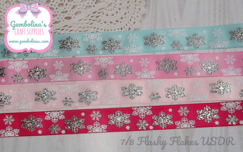 7/8 22mm USDR Grosgrain Ribbon Flashy Flakes Snowflake Christmas