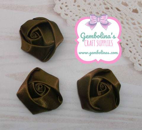 Brown Satin Rolled Rose Flower Bow Making Craft Supplies DIY Gembolina's