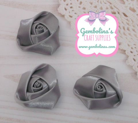 Silver Grey Satin Rolled Rose Flower Bow Making Craft Supplies DIY Gembolina's