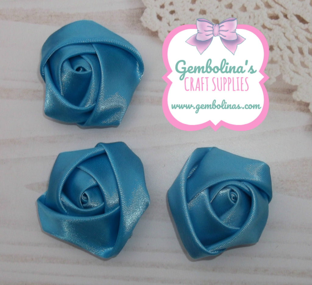 Turquoise Satin Rolled Rose Flower Bow Making Craft Supplies DIY Gembolina's