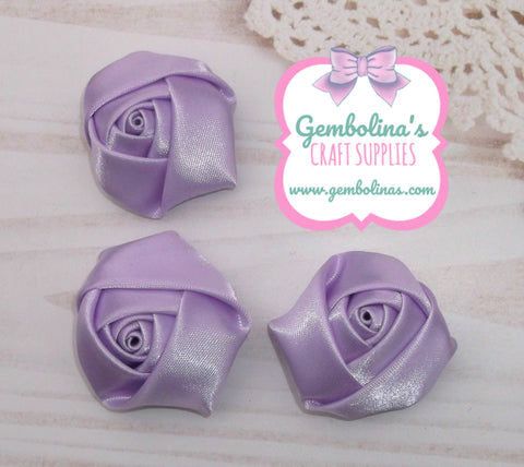 Lilac Satin Rolled Rose Flower Bow Making Craft Supplies DIY Gembolina's