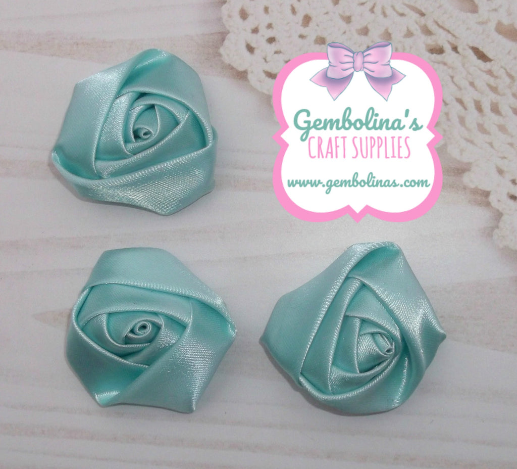 Aqua Mint Satin Rolled Rose Flower Bow Making Craft Supplies DIY Gembolina's