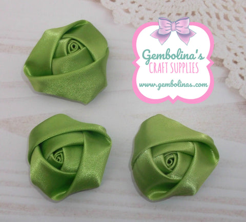 Apple Green Satin Rolled Rose Flower Bow Making Craft Supplies DIY Gembolina's