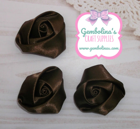 Chocolate Brown Satin Rolled Rose Flower Bow Making Craft Supplies DIY Gembolina's