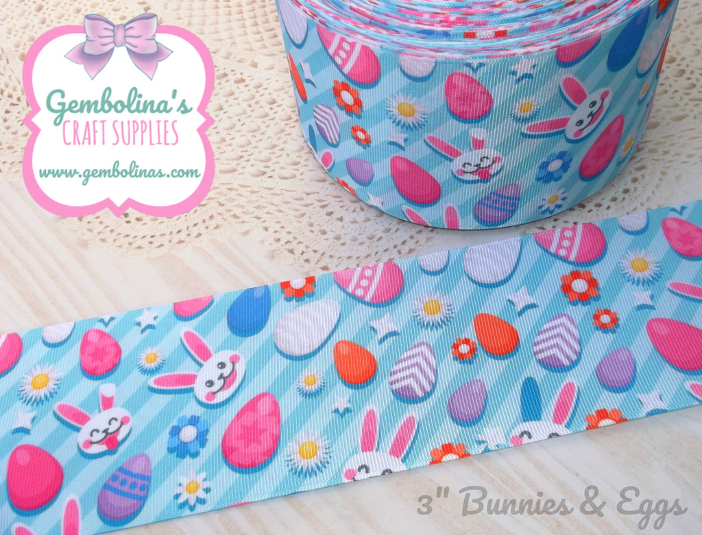"3"" 75mm Bunnies & Eggs Easter Print Grosgrain Ribbon Bow Making Gembolina's Crafts"