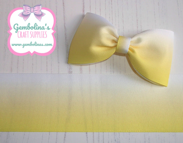"2"" 50mm Lemon Yellow to White Ombré Printed Grosgrain Gradient Colour Change Ribbon Gembolina's Crafts"