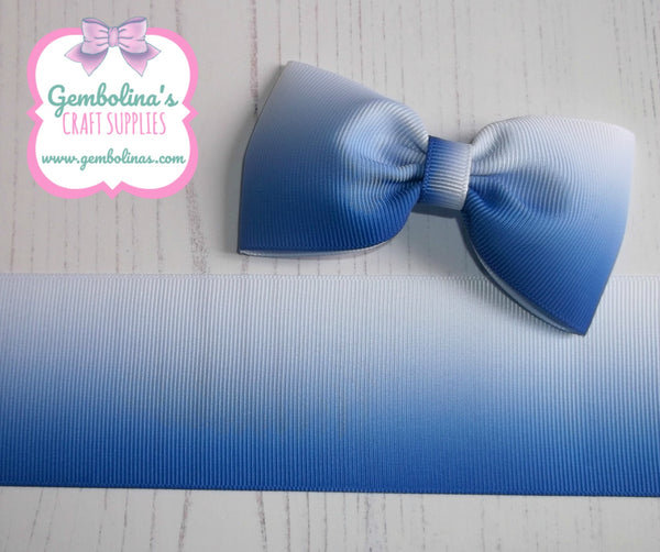 "2"" 50mm Royal Blue to White Ombré Printed Grosgrain Gradient Colour Change Ribbon Gembolina's Crafts"