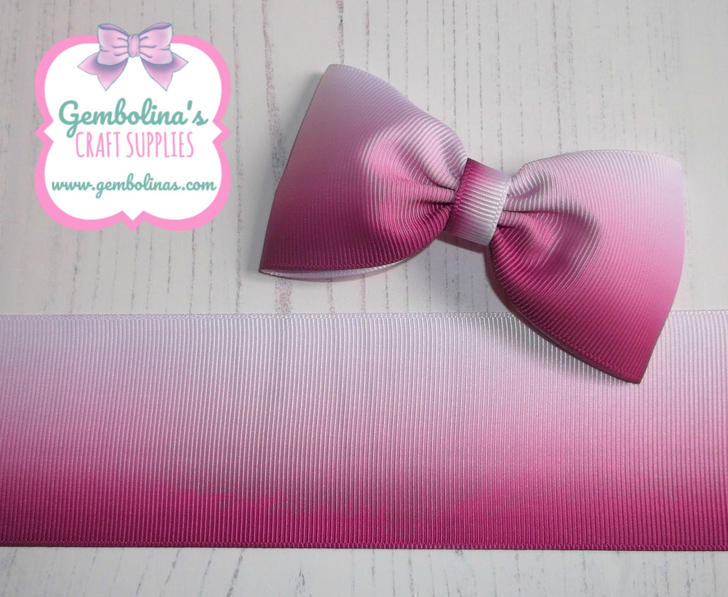 "2"" 50mm Garden Rose Fuchsia to White Ombré Printed Grosgrain Gradient Colour Change Ribbon Gembolina's Crafts"