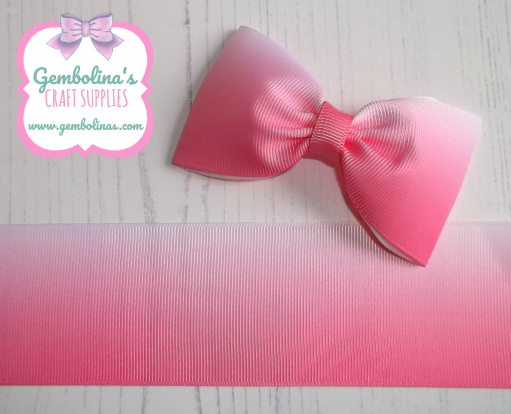 "2"" 50mm Hot Pink White Ombré Printed Grosgrain Gradient Colour Change Ribbon Gembolina's Crafts"