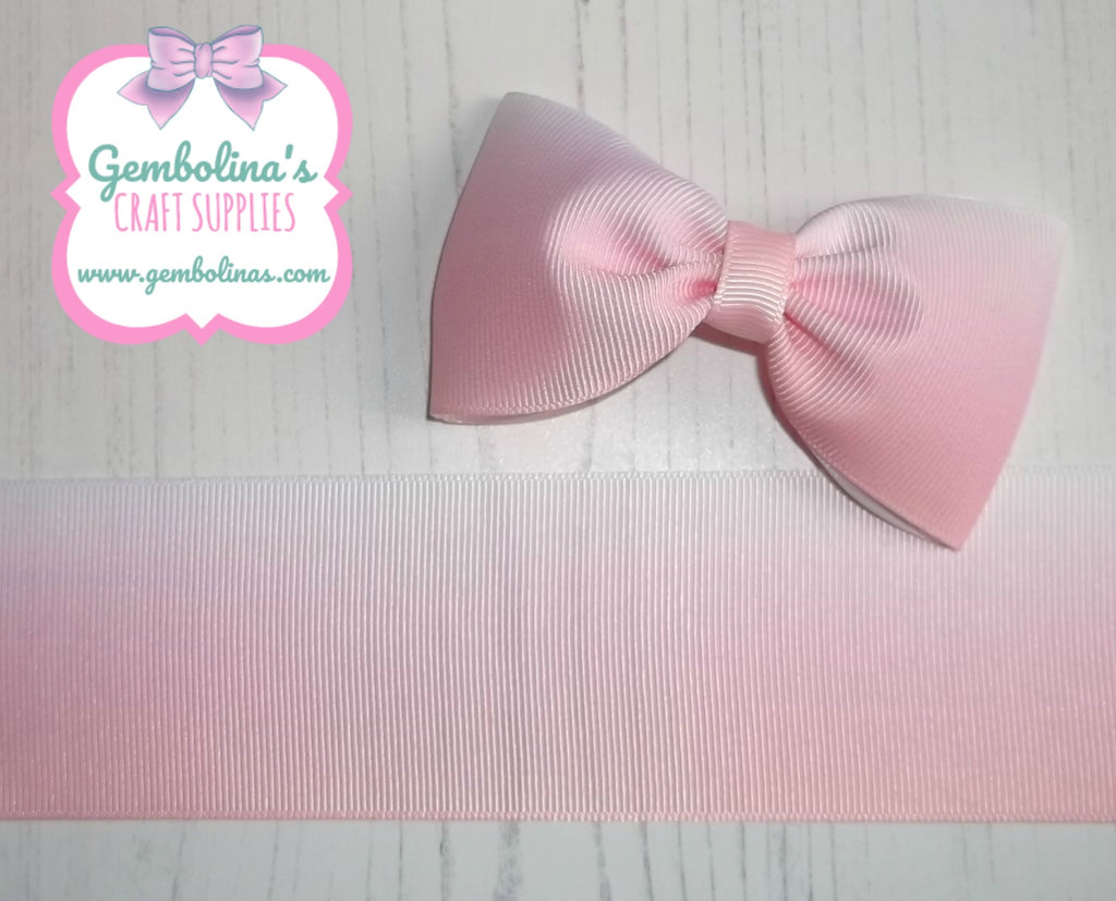 "2"" 50mm Pearl Pink White Ombré Printed Grosgrain Gradient Colour Change Ribbon Gembolina's Crafts"