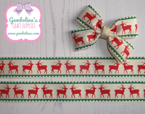 "1"" 25mm Festive Stag Traditional Cream Red Green Rudolph Christmas Winter themed printed Grosgrain ribbon Gembolinas Crafts"