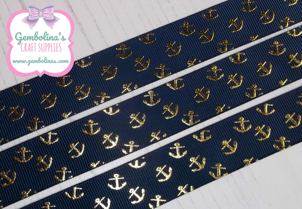 7/8 22mm USDR Grosgrain Ribbon Gold Foil Anchors Anchor Navy US Designer Gembolina's Crafts Bow DIY