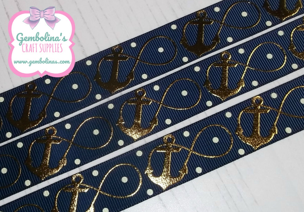 7/8 22mm USDR Grosgrain Ribbon Gold Foil Infinity Anchors Anchor Navy US Designer Gembolina's Crafts Bow DIY