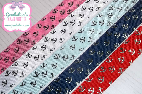 7/8 22mm USDR Grosgrain Ribbon Silver Foil Anchors Anchor Navy Red Hot Pink White Ocean Blue US Designer Gembolina's Crafts Bow DIY