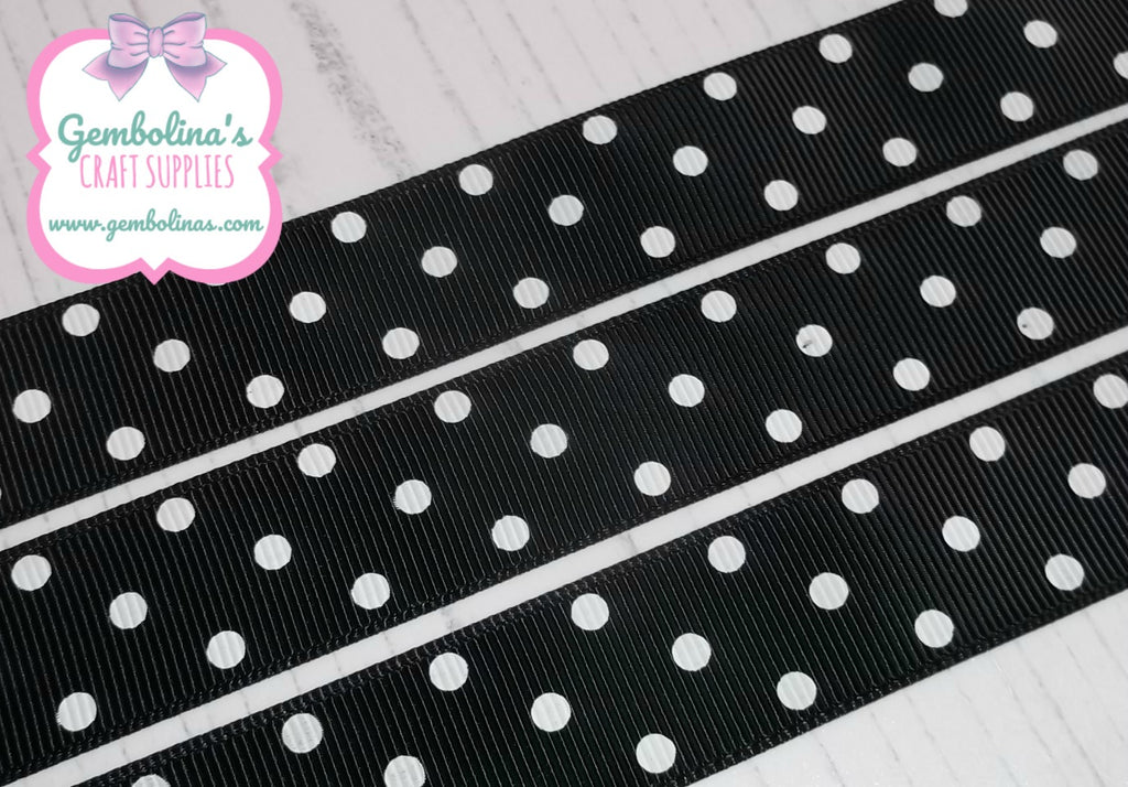 22mm 7/8 Black White Polka Grosgrain Ribbon Spotty Spotted Dots Foil Bow Making Craft Supplies DIY Gembolina's