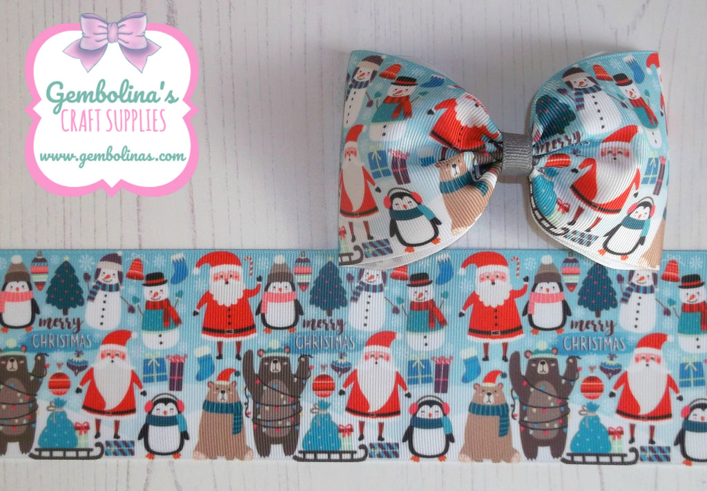 "3"" 75mm Blue Christmas Santa Penguin Snowman Bear Nordic Xmas Grosgrain Ribbon Bow Making DIY Gembolina's Crafts"