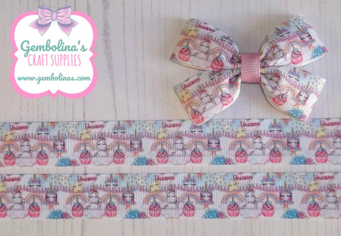 "1"" 25mm Unicorn Tea Party Grosgrain Ribbon Bow Making Gembolina's Crafts"