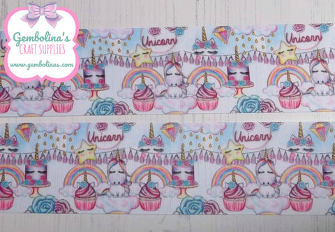 "3"" 75mm Unicorn Tea Party Grosgrain Ribbon Bow Making Gembolina's Crafts"