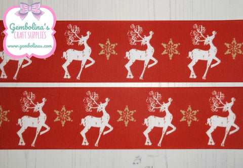 "3"" 75mm Traditional Reindeer Christmas Winter Printed Grosgrain Ribbon Bow Making Gembolina's Crafts"